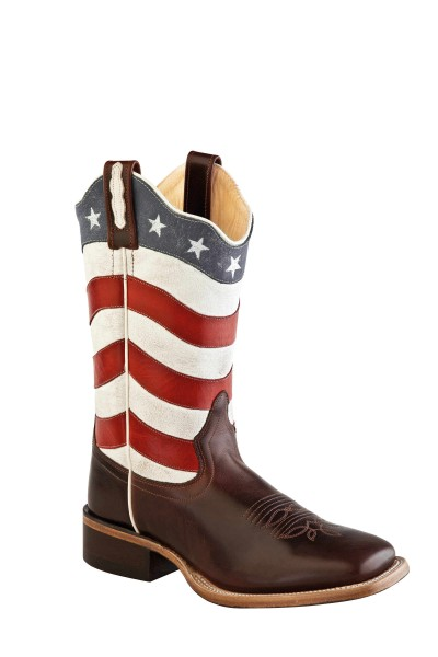 Cowboystiefel Damen Amerika Style Brown Foot / Red & White Shaft with Blue Collar