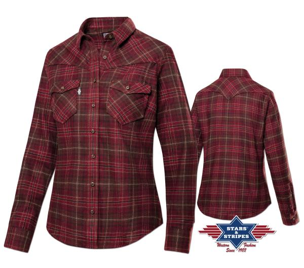 Westernbluse A-02, Flanell Damen, rot