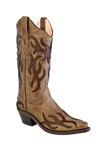 Cowboystiefel Damen Tan Fry Foot & Shaft with Chocolate Brown Overlay