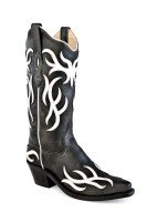 Cowboystiefel Damen Black Foot & Shaft with White Overlay